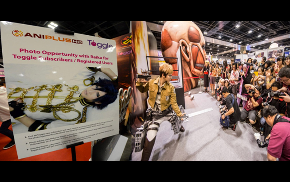 ANIME FESTIVAL ASIA 2013 : ANIPLUS ASIA: Hired cosplayers to draw crowds to their booth